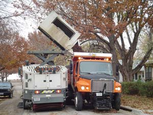 Street sweeper and dump truck