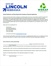 Waste Reduction and Recycling Onsite Assistance Request Application