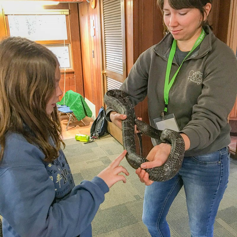 Nature Center Staff handles a snake for a student to engage with. The student gingerly places one finger on the snake.